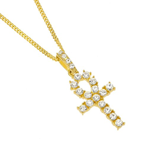 Usstore 1PC Women Men's Out Frozen Necklace Cross Bling Pendant Rhinestone Chain Jewelry Gift (Gold, 24 Inch)