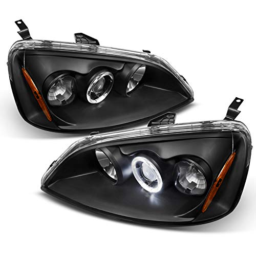 For Honda Civic Black Bezel Halo Ring Projector Headlights Driver Passenger Replacement Lamps Pair 03 Honda Civic Projector Headlights