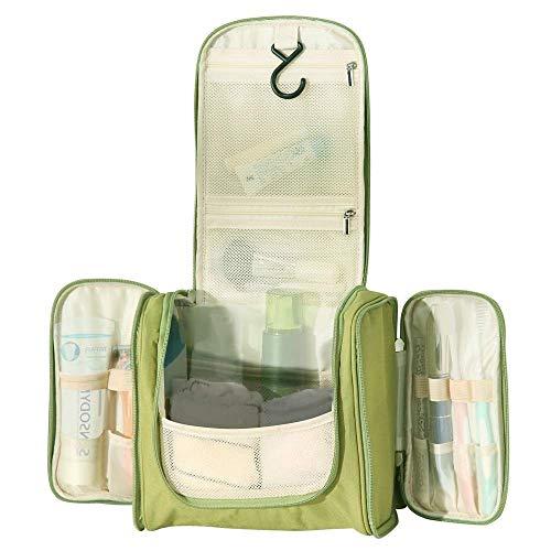 WildGrow Travel Multi Compartment Hanging Toiletry Bag Kits Makeup for Men, Women (Light Green)