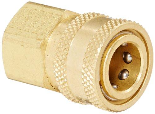 "Eaton Hansen 3S21 Brass Straight Through Ball Lock Hydraulic Fitting, Socket, 3/8""-18 NPTF Female, 3/8"" Port Size, 3/8"" Body"