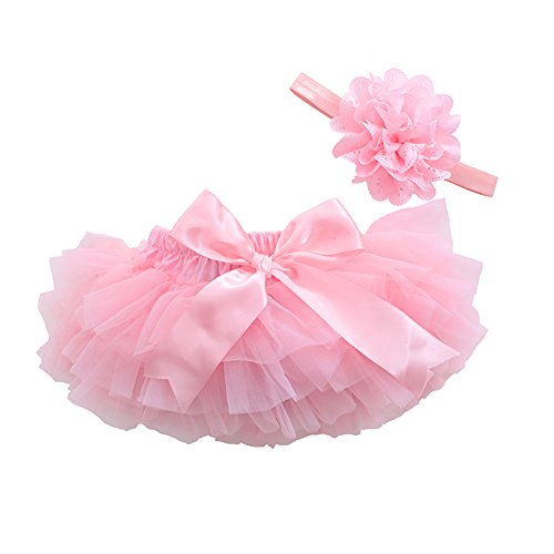 muyan Girls Cotton Tulle Ruffle with Bow Baby Bloomer Diaper Cover and Headband Set (Pink, ()