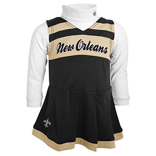 OuterStuff NFL New Orleans Saints Girls Cheer Jumper Dress with Turtleneck Set, 4T, Black (Nfl Cheerleader Infant Outfit)