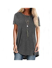 CGKUITER Womens Long Sleeve Tops O Neck Solid Color Casual T Shirts Tunic Blouse