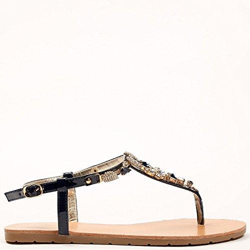 Ideal Shoes Barfuß Effekt Nagellack und Bling Strass VENUSIA Marine