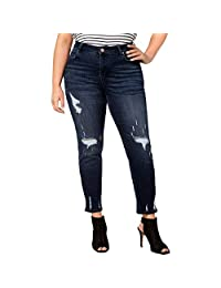 Celebrity Pink Jeans Womens Plus Bianca Distressed Mid-Rise Girlfriend Jeans