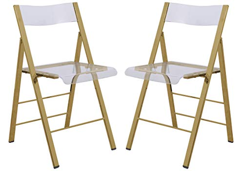 LeisureMod Milden Modern Acrylic Folding Chairs, Set of 2 Gold