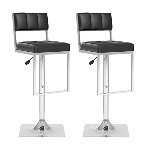 CorLiving DAB-808-B Square Tufted Adjustable Bar Stool, Black Leatherette, Set of 2