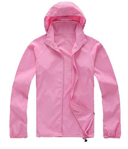 ZKOO Deportiva Chaqueta Unisex Anti-ultravioleta Exodus Softshell Jacket Ropa al Aire Libre Chaqueta Para Mujer Hombre Rosado