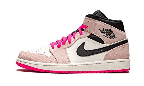 Nike Air Jordan 1 Mid Se Mens Sneakers 852542-801, Crimson Tint/Hyper Pink-Black-Sail, Size US 8.5 (Pink Jordans)