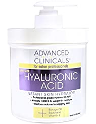 Advanced Clinicals Anti-aging Hyaluronic Acid Cream for face, body, hands. Instant hydration for skin. Spa size 16oz.