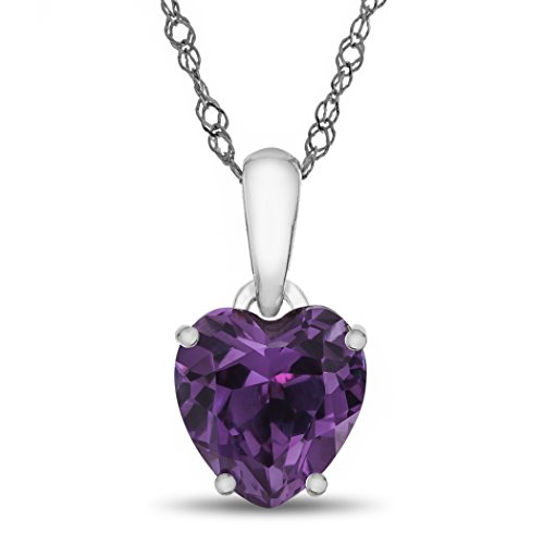 (Finejewelers 10k White Gold 7mm Heart Shaped Simulated Alexandrite Pendant Necklace)