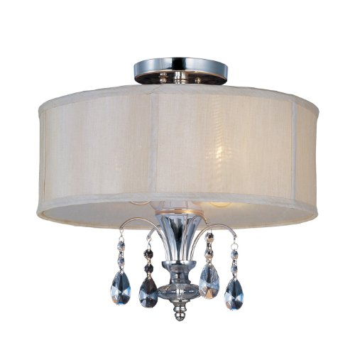 Maxim Lighting 224301CLBSPN Montgomery 3-Light Semi-Flush, Polished Nickel Finish with Blush Fabric Shade and Clear Glass Crystals