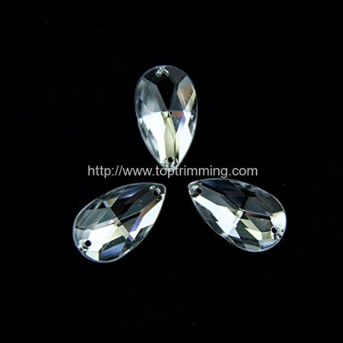 Crystal Tear Drop Flat Back 17mm x 28mm Resin Sew on Diamante Rhinestone Crystal Gems Selling per pack/60 pcs by Top Trimming
