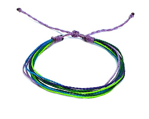 Mia Jewel Shop Multi Strand String Pull Tie Neon Multicolored Bracelet (Lavender/Lime-Green/Turquoise)