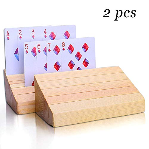 Joyoldelf Wooden Playing Cards Holder, Premium Beechwood Poker Rack Trays Perfect for Organizing Cards on Game, Rummy, Party and Match, Set of 2 ()