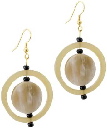 Maisha Beautiful African Fair Trade Beige Blonde with Low Lights Horn Circle in Circle Hoop Earrings