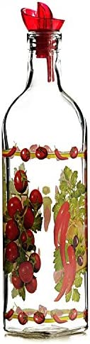 Grant Howard Country Veggies Oil & Vinegar Glass Cruet with Ergo Pourer, 16 oz, Multicolored