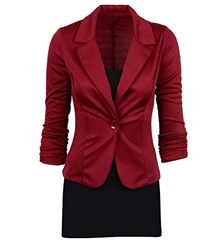 Casuali Tailleur Di Marca Fashion Monocromo Winered Fit Slim Giaccone Mode Cappotto Giacca Donna Business Manica Da Bavero Autunno Classiche Button Con Primaverile Giacche Lunga Blazer 46PcwqXF