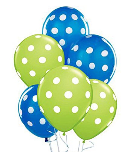 Polka Dot Balloons 11inch Premium Sapphire Blue and Lime Green with All-Over Print White Dots Pkg/25 (Green Polka Dot Balloons)