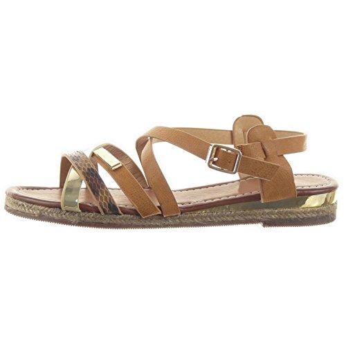 Sopily - damen Mode Schuhe Sandalen Römersandalen glänzende Seil Schlangenhaut - Camel