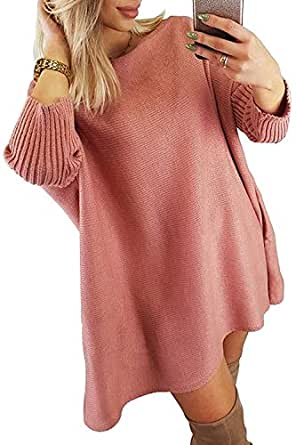 CILKOO Womans Off Shoulder Sweater Winter Soft Oversized Loose Sweater Dresses Ribbed Cable Knit Long Tunic Pullover Sweater Coat Pink