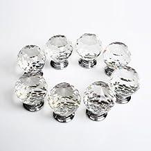 Revesun 8PCS/LOT Diameter 50mm Clear Crystal Glass Door Knobs Cabinet Pulls Cupboard Handles Drawer Knobs Wardrobe Home Hardware