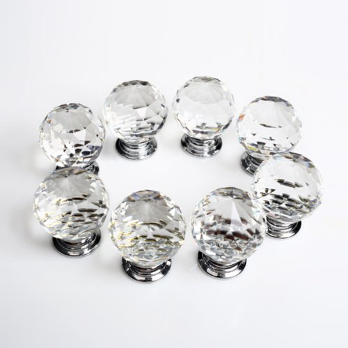 Revesun 10PCS/LOT Diameter 50mm Clear Crystal Glass Door Knobs Cabinet Pulls  Cupboard Handles Drawer