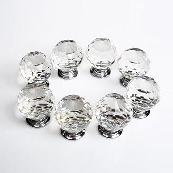 Revesun 10PCSLOT Diameter 50mm Clear Crystal Glass Door Knobs