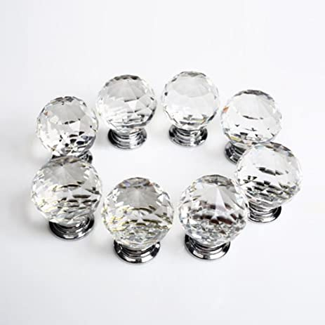 revesun 10pcslot diameter 50mm clear crystal glass door knobs cabinet pulls cupboard handles drawer