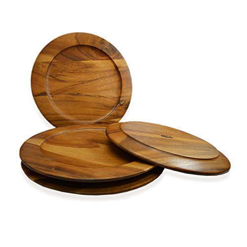 - RoRo Classic Wood Charger Plates in Oak Stain Set of 4, 12 Inch