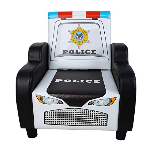 (Children's Police Car Shape Sofa Chair Black Kid's Armrest Couch Small Kids Reading Chair Living Room Bedroom Furniture for Boys & Girls)