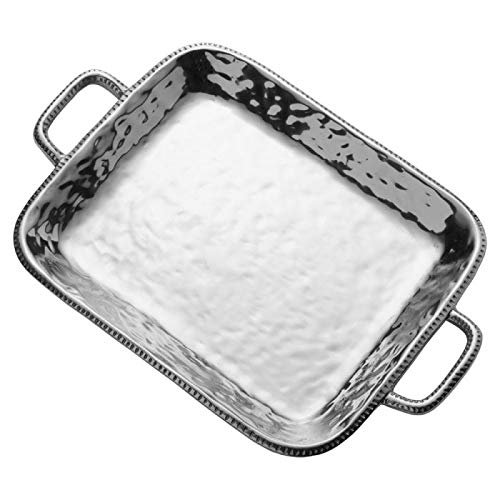 (Wilton Armetale River Rock Large Rectangular Tray With Handles)