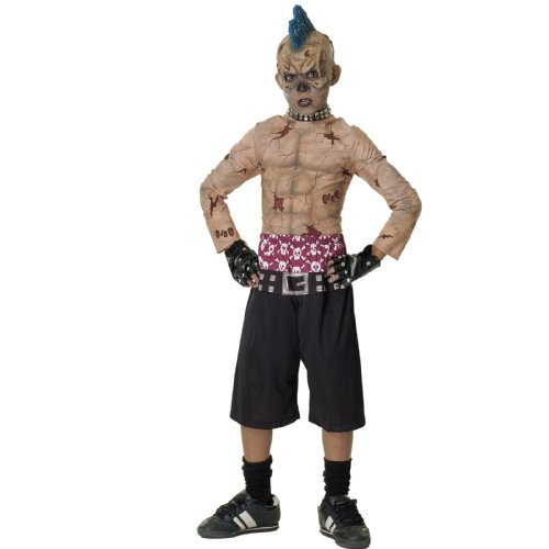 Halloween Monster Costume Sock (Rubies Kids Zombie Skater Mohawk Punk Boys Halloween Costume)