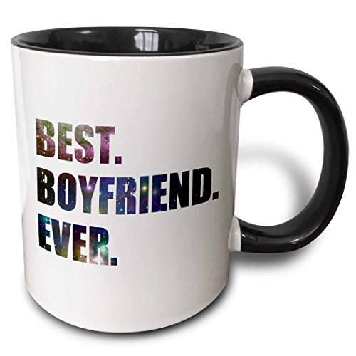 3dRose mug_179716_4 Best Boyfriend Ever cut out of outer space stars and galaxies graphic Two Tone Black Mug, 11 oz, Black/White