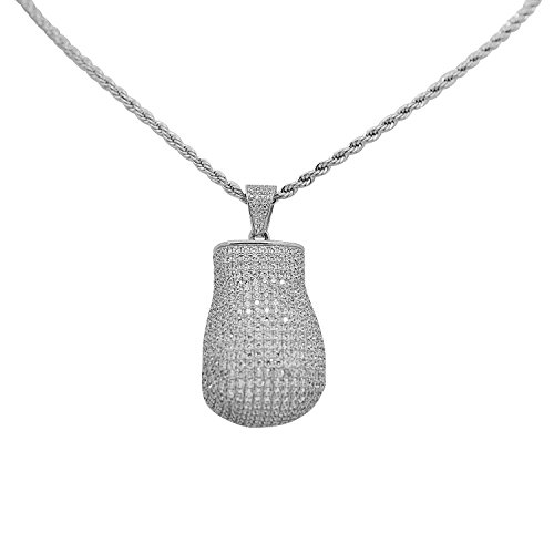 925 Sterling Silver White Gold-Tone Iced Out Hip Hop Bling Cubic Zirconia 3D Boxing Glove Pendant by iRockBling