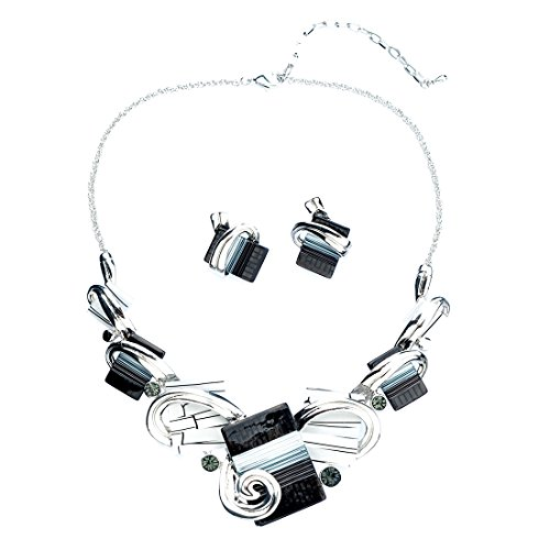 Qise Irregular Rectangle Gemstone Decorated Colorful Necklace Earring Set Jewelry Set (Around The World Costume Ideas Cheap)