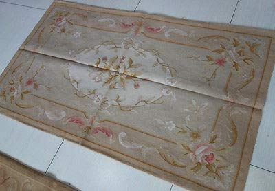 FidgetFidget Shabby Pastel Light 3'x5' Chic Tone French Country Aubusson Area Rug ()