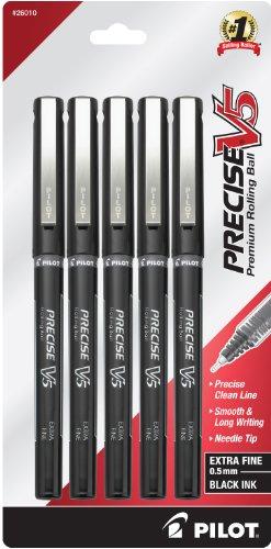 Pilot Precise V5 Stick Rolling Ball Pens, Extra Fine Point, 5-Pack, Black Ink (26010) 5 Pack Stick Pens