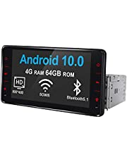 Joyforwa 6.2 Inch Single Din Touch Screen with In Dash Android 10 Autoradio Multimedia Player Fiber-Optic Output Support 4G SIM Card/ 5Ghz WiFi/FM Radio/Fastbooth/GPS Sat Navigation