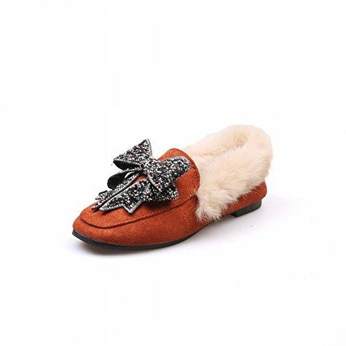 Fondo Plano Zapatos Bow amarillo de Diamante Pelo Proa Cabeza de Cuadrada Piel la Sola EUR35 Profundo Mujer de Pu de 77Pqv