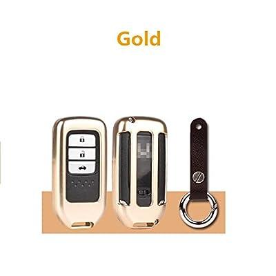 [MissBlue] Aircraft-grade Aluminum Key Fob Cover For Honda Remote Key, Protector Case Fits Honda Smart Car Key, Unisex Leather Key Fob Keychain for Men Key Fob Holder for Women