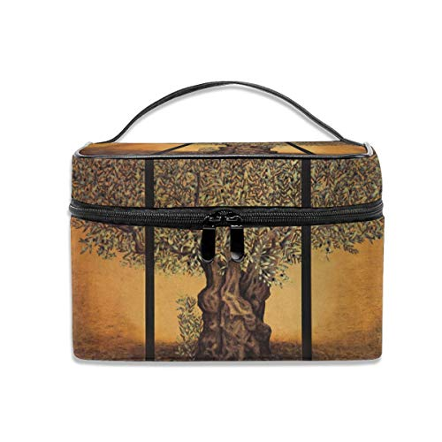 Makeup Bag Triptych Of An Old Mature Olive Tree Cosmetic Portable Storage Bag With Quality Zipper Portable For Makeup Bag For Women