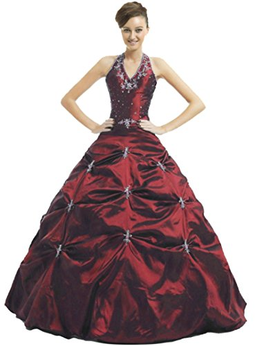 RohmBridal Women's Halter Taffeta Prom Ball Gown Quinceanera Dress Burgundy Size 24 by RohmBridal