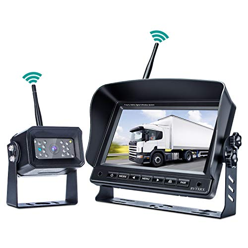 - Digital Wireless Backup Camera System,No Interference, Easy Installation, IP69 Waterproof Wireless Rear View Camera, 7'' LCD Wireless Reversing Monitor Display for RV, Truck, Trailer, Bus, Vans