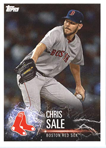 2019 Topps MLB Stickers Baseball #23 Chris Sale/Max Scherzer Boston Red Sox/Washington Nationals Trading Card Sized Album Sticker with Collectible Card Back