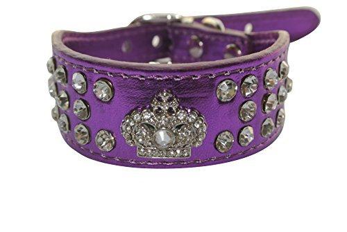 Geepro 3 Rows Rhinestone Crystal Leather Dog Collars For XS or Small Dogs (Purple, XS)