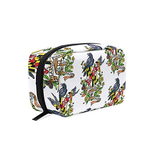 My Maryland Baltimore Oriole Womens Toiletry Bag Travel Makeup Pouch Cosmetic Square Coin ()
