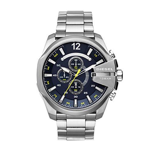 Diesel Men's Mega Chief Quartz Stainless Steel Chronograph Watch, Color: Silver-Tone (Model: DZ4465)