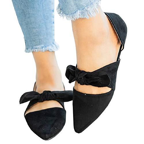 Huiyuzhi Womens Pointed Toe Knot Bow Flats Mule Slides Sandals Slip On Shoes (9.5 B(M) US, Black-1) (Bow Mule)