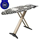 "Bartnelli Luxury Ironing Board with Cover - Extra Wide 51x19"" with Steam Iron Rest - Adjustable Height - Stability T-Leg Easy Foldable - European Made"